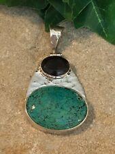 Hammered design Pendant Beautiful! Sterling Silver Huge Turquoise&Smokey Quartz
