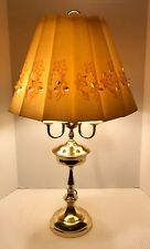 "Fine 3 Arm Candle Brass Bouillotte Table Lamp with Vintage Linen Shade 29.75"" H"