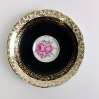 Royal Stafford 8226X Pink Rose Black & Gold Leaves Tea Cup Saucer ONLY Gold Trim