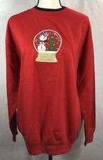Women's Red Christmas Snow Globe Embroidered ugly Sweater By MC Sportwear large