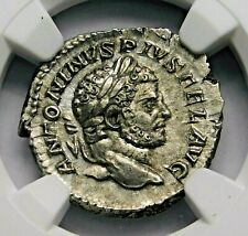 NGC AU. Caracalla. Stunning Denarius. Brother of Geta. Ancient Roman Silver Coin