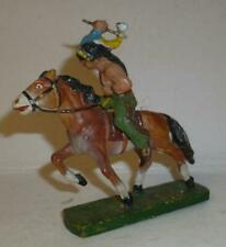 UNIDENTIFIED VINTAGE COMPOSITION WILD WEST MOUNTED INDIAN WITH TOMAHAWK
