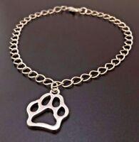 Dog Paw Charm Bracelet Pet Sterling Silver Chain Link Bangle Women's Jewelry