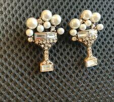 Zara PRECIOSAS Perlas de Imitación Blanco Barroco de mano de oro pendientes Nueva