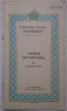 CROWN MATRIMONIAL.ROYCE RYTON.ROYAL PROGRAMME 72.WENDY HILLER.P BARKWORTH.A RAY