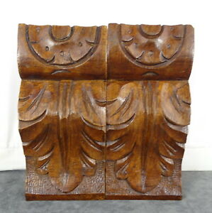 "5"" Pair of French Antique Hand Carved Oak Wood Corbels Salvage Trim"