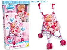 Passeggino giocattolo con bambola 36cm(tipo cicciobello)ciuccio e biberon T65167