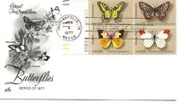 US Scott #1712-15, First Day Cover 6/6/77 Indianapolis Plate Block Butterflies