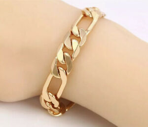 """9ct 9K Yellow """"Gold Filled"""" Figaro chain Bangle Bracelet W=8mm,L=8.4"""" Free Pouch"""