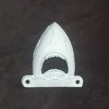 """Cast Iron """" JAWS """"  SHARKS HEAD Bottle Opener With White Finish Wall Mount"""