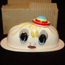 RARE MIB Vintage Royal Sealy Google Eye Pixie Girl Butter Dish