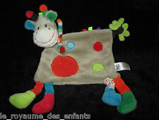 Doudou plat Girafe Vache grise mulicolore Nicotoy Simba Toys patchwork ronds