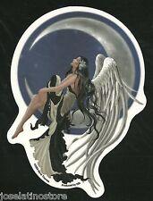 """Angel Fairy on a Crescent Moon Sticker 4.25""""x5"""" die-cut sticker."""