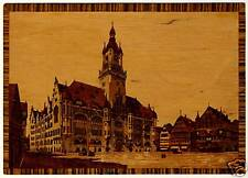 STUTTGART Rathaus * XL Echt-Holz-Karte Intarsien-Imitat