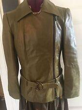 Plein Sud olive Leather coat Belted Jacket SZ 42 italy 8/10 us