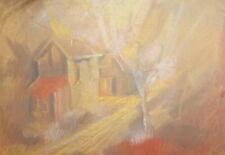Vintage pastel impressionist landscape drawing