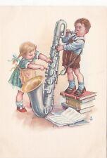1950s RARE Little boy plays saxophone girl KW old German postcard