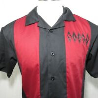 Retro Rockabilly Bowling Shirt S Red Black Splits Happen