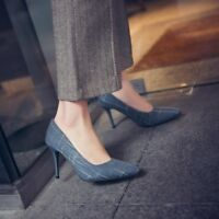 Womens Pointed Toe Slip On Pumps Slim High Heels Printed Party Shoes EUR 35-48
