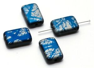 4 CZECH PRESSED GLASS RECTANGLE / LOZENGE BEADS,  BATIK, METALLIC BLUE, 12 MM