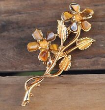 Vintage Tigers Eye Floral Spray Gold Brooch Pin Costume Jewellery Retro