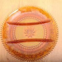 """Vintage 12"""" Tiara Exclusive Indiana Amber Glass  Divided Relish Serving Plate"""