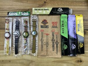 NIB 1997 Burger King Jurassic Park: The Lost World Watch Set of 4 with To Go Bag