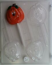PUMPKIN LOLLIPOP CLEAR PLASTIC CHOCOLATE CANDY MOLD H071