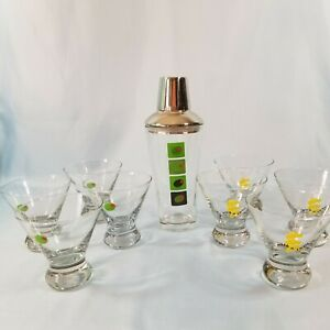 Martini Shaker & 8 Glasses  A Perfect Set Featuring Olives & Twists.