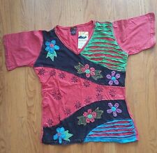 Rising International TANK TOP NEPAL HIPPIE Cotton PATCHWORK Shirt FAIR TRADE