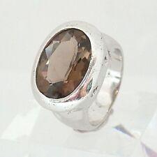 1901.Rauchquarz Silber Ring 925 Silber RG 57 (18,1 mm Ø) Meisterpunze