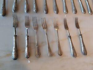 vintage lotto pezzi argento cucchiao forchetta coltelli..etc
