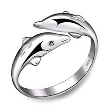 925 Silver Plated Dolphin Ring in FREE Gift Bag/Box! UK Adjustable Sea Life