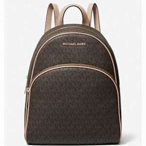 Michael Kors Abbey Medium Logo Backpack Brown/Soft Pink