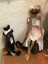 "HANDCRAFTED 16""  BRIDE & GROOM POSEABLE PUMPKIN HEAD SKELETON  PARTY-GOTHIC NEW"