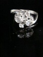 EDWARDIAN STYLE 18CT WHITE GOLD NATURAL ROSE CUT DIAMOND TWIST RING