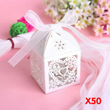50pcs Wedding Engagement Present Bag White Party Cake Candy Favors Gift Boxes