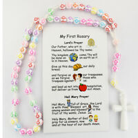 Kid's Multi Color Rosary with My First Rosary Prayer Card with the Lord's Prayer