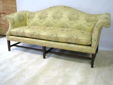 Vintage Kittinger Camel-Back Sofa, Mahogany Legs; Lampas Style Fabric