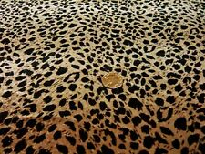 STRETCH  VELVET-LEOPARD SKIN-BEIGE/BLACK-DRESS/CRAFT FABRIC-FREE P&P(UK ONLY)