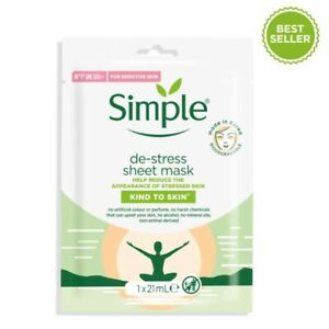 Simple Kind To Skin De-Stress Sheet Mask with aloe and multi-vitamins NEW