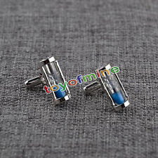 Vintage Blue Hourglass Silver Mens Wedding Party Gift Shirt Cuff Links Cufflinks
