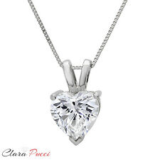 "2.0Ct Heart Cut 14K WHITE GOLD SOLITAIRE PENDANT NECKLACE + 16"" CHAIN"