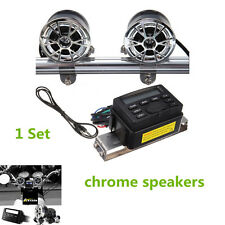 12V FM Radio MP3 Stereo Handlebar Audio System 2Speaker for Honda Motorcycle Set