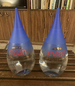 Evian Millenium UNOPENED Teardrop Glass Water Bottle Y2K w Plastic Tag LOT OF 2