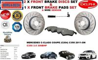 FOR MERCEDES C350 C204 COUPE 306BHP FRONT BRAKE DISCS SET + PADS KIT + SENSOR