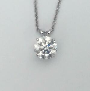 0.5 CT DIAMOND GOLD PENDANT NATURAL ROUND CUT SOLITAIRE NECKLACE 14K WHITE GOLD