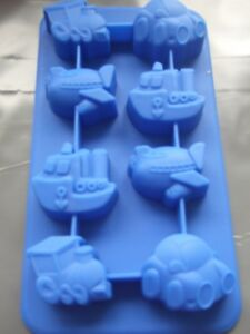 Silicone Mould Car/Train/Plane/Boat Chocolate Tray-Ice,Sweets,Soap,Wax etc