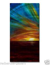 Metal Wall Art Decor Ocean Sunset Abstract Painting