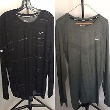 Nike Running Shirts Set of 2 Long Sleeve - Black With White & Green - XXL